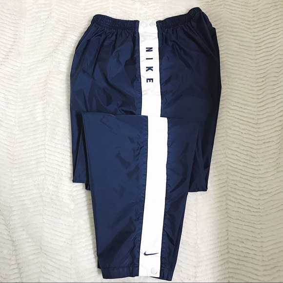 ea02ebb5906 Nike Bottoms | Wind Break Sweat Pants W Buttons Navy Blue | Poshmark